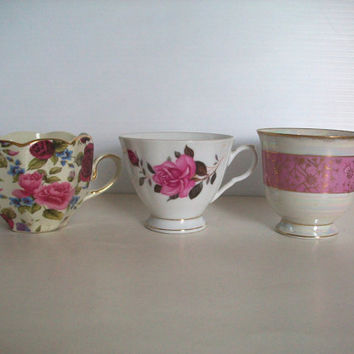 a trio of vintage porcelain cups without saucers . shabby chic decor . replacement cups . tea cups for decor . cottage chic tea cups . roses