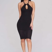 Open Knit Keyhole Dress - Black - Casual - Dresses - Clothing