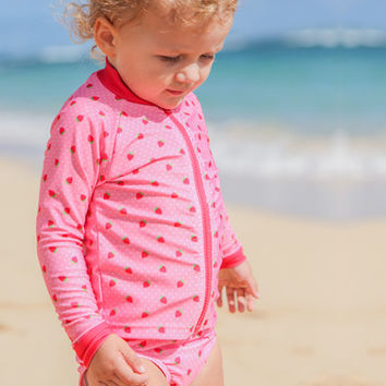 """Strawberry Shortcake"" -  Long Sleeve Girl Rash Guard Swimsuit Set (2 Piece)"