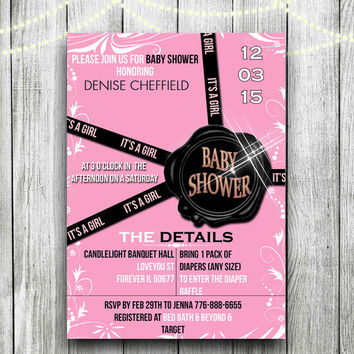 Designer Flower Bomb Inspired Baby Shower invitation Pink It's a girl invitation Cute baby shower invitation Diaper raffle baby shower