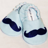 Baby Booties -  Newborn, Infant, Baby Slippers, Crib Shoes, Footwear, 0 - 18 Months - Blue Mustache Booties