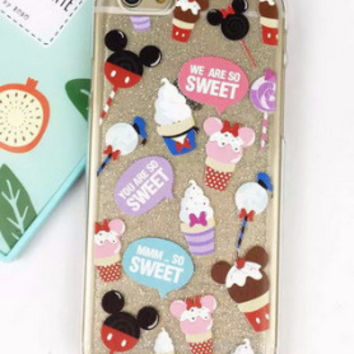 Glitter Mickey Ice Cream Soft Case for iPhone 6 6s 6 Plus 6s Plus