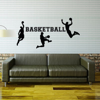 Basketball Wall Decal Sports Vinyl Decals Basketball Players Gift Sports Stickers Nursery Boys Room Teen Boy Room Dorm Decor Wall Art 0084