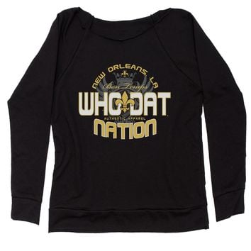 Who Dat Nation New Orleans (Color) Slouchy Off Shoulder Oversized Sweatshirt