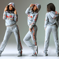Adidas Fashion Multicolor Print Sport Pullover Pants Set Two-Piece Sportswear