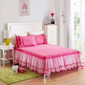 3-Pieces Lacework Quited Bed Sheet Set Solid Color Bed Sheets With Elastic Bedding Set Queen Size King Bed Set sabanas