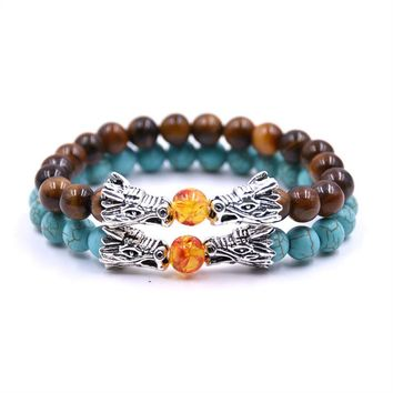 TANGYIN Tiger Eye Natural Stone Bead Bracelet Men Jewelry Bracelets For Women Pulseiras Double Alloy Dragon Charm Beads Bracelet