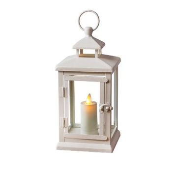 "Luminara 11"" White Hudson Lantern w/ Flameless Votive Candle"