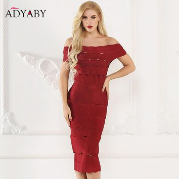 Off Shoulder Midi Dress Women Summer 2018 New Fashion Sexy Bandage Dress Bodycon Hollow Out Celebrity Club Party Dresses Long
