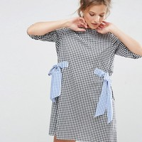 ASOS Gingham Shift Dress with Bow Details at asos.com
