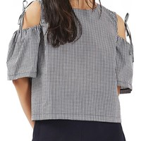 Topshop Gingham Tie Cold Shoulder Top (Petite) | Nordstrom