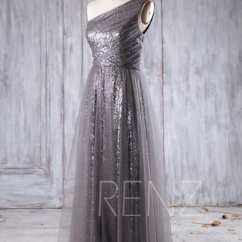 2016 Gray Mesh Bridesmaid Dress Long, Sequin Wedding Dress, One Shoulder Prom Dress, A Line Evening Gown Floor Length (HQ303B)