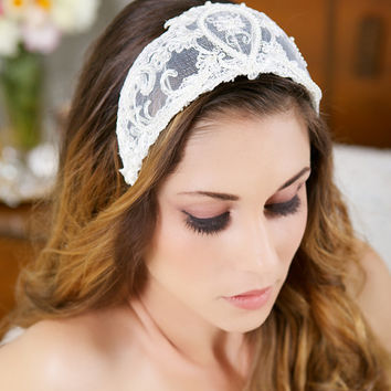 Vintage Lace Headband, Lace Crown, Tiara, Ivory Pearl Headpiece, Great Gatsby Wedding, Princess Grace - STYLE 021