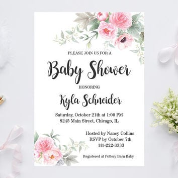 Printable Baby Shower Invitation, Peonies Floral Invitation, Floral Baby Invitation, Floral Shower Invitation, Rustic Baby Shower Invitation