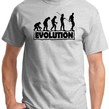 """Mens """"The Evolution of Fitness"""" Funny Gym T-shirt - Ash Grey"""