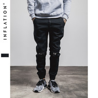 INFLATION New Ripped Frayed Pants For Men Skinny Destroyed Famous Hip Hop Black Men Joggers Pants Casual High Street Pants