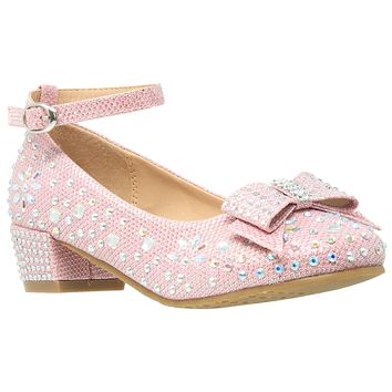 Kids Dress Shoes Girls Glitter Rhinestone Bow Accent Mary Jane Pumps Pink