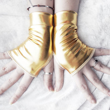 Tribute Wet Look Fingerless Gloves - Metallic Gold - Gothic Super Hero Cyber Visual Noir Steampunk Unisex Rivet Head Burlesque Goth Shiny
