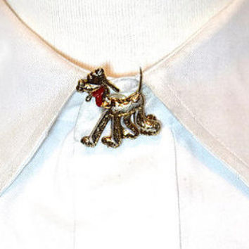 Vintage Damascene Style Brooch,Vintage Dog Pin,Bloodhound Dog Brooch,Dog Lapel Pin,Toledoware Brooch,Collectible Jewelry,Animal Pin,Pet Pin