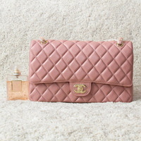 CHANEL / Double chain Shoulder Bag /Nude Pink Lambskin Leather