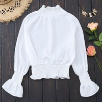 Smocked Ruffle Neck Flare Sleeve Crop Blouse