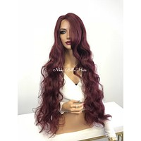 Burgundy Red Curly  Lace Front Wig - Modesty 1188