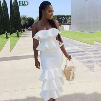 African Style Clothing Sexy Ruffle off Shoulder Strapless Dress White