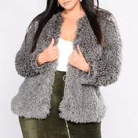 Love Me More Fuzzy Jacket - Grey