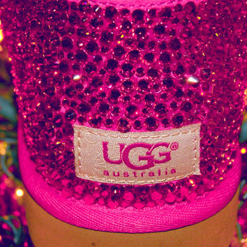 Custom Swarovski Hot Pink Ugg Boots by TheGlammyMammy on Etsy