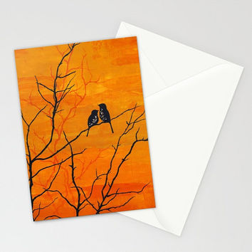Moment of Silence - Greeting Card romantic anniversary Valentine's Day love birds colorful autumn sunset silhouette art painting envelope