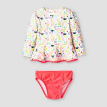 Baby Girls' 2-Piece Beach Print Rash Guard Set Cat & Jack™