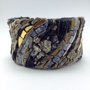 Road Less Travelled Slate and Glass Cuff Bracelet