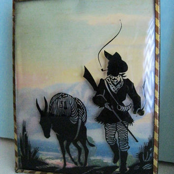 Vintage Silhouette Bubble Glass Decor Cowboy and Indian Collectible Art Pair