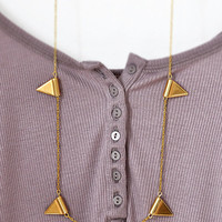 Long Garland Necklace - Golden Triangle Necklace - Geometric Tribal Necklace - Minimalist Necklace - Simpicity Necklace