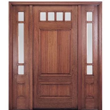 MAI Doors HTC600-1-2 Mahogany Square Top 4-Lite with a Panel Bottom Exterior Door and Sidelites at Doors4Home.com