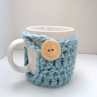 coffee mug cozy, chunky wool coffee cup cozy wooden button