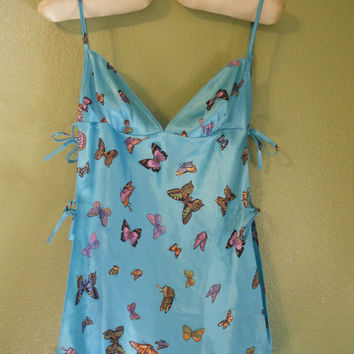 SEXY 90's Vintage  silky Butterfly Slip  Nightie Lingerie    Valentines Day