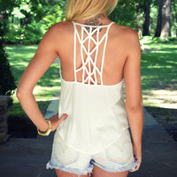 Daybreak White Cage Back Tank