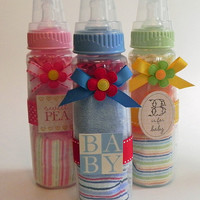 Washcloth Baby Bottle  Unique Baby Shower Gifts by BabyBinkz
