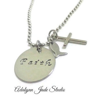 Religious Gifts ~ Necklace with the word faith , Christian Jewerly , Baptism Gift , Catholic First Holy Communion Token , Cross Jewerly