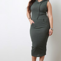 Ribbed Knit Hooded Sleeveless Bodycon Midi Tank Dress
