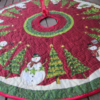 Christmas Tree Skirt Snowman and Christmas Tree  QUILTED and REVERSIBLE
