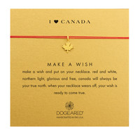 Heart Canada Maple Leaf Necklace on Red Silk, Gold Dipped | Dogeared