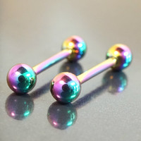 Titanium Rainbow Nipple Bar Jewelry Barbell