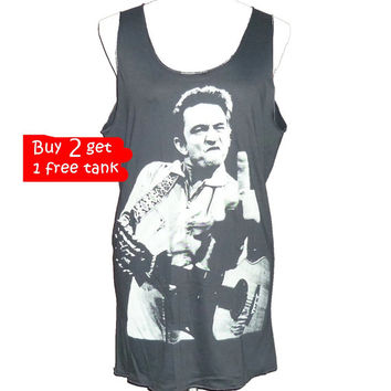 Buy 2 get 1 tank, Johnny Cash tank top playing bass guitar shirt middle finger funny shirt size M medium **tank tops **long shirt **clothing
