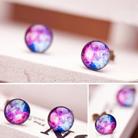 Nebula Earrings Purple-Pink, Galaxy Ear Studs Posts, Christmas = 1945706564