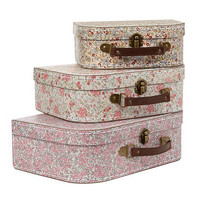Set of three pink 'Vintage' floral suitcases at debenhams.com
