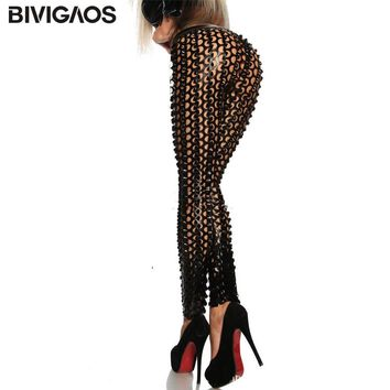Gothic Punk Rock Metal Bright Pierced Hole PU Leather Elastic Leggings