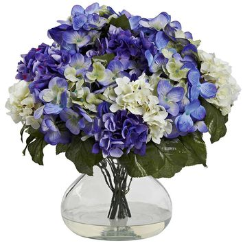 Silk Flowers -Hydrangea With Large Vase Artificial Plant