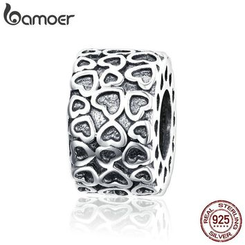 BAMOER Genuine 925 Sterling Silver Heart to Heart Engrave Beads fit Original Bracelets Jewelry Valentines Day Gift SCC1043